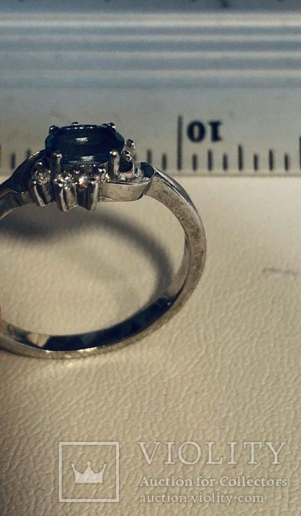 Кольцо с голубым камнем 925`, фото №4