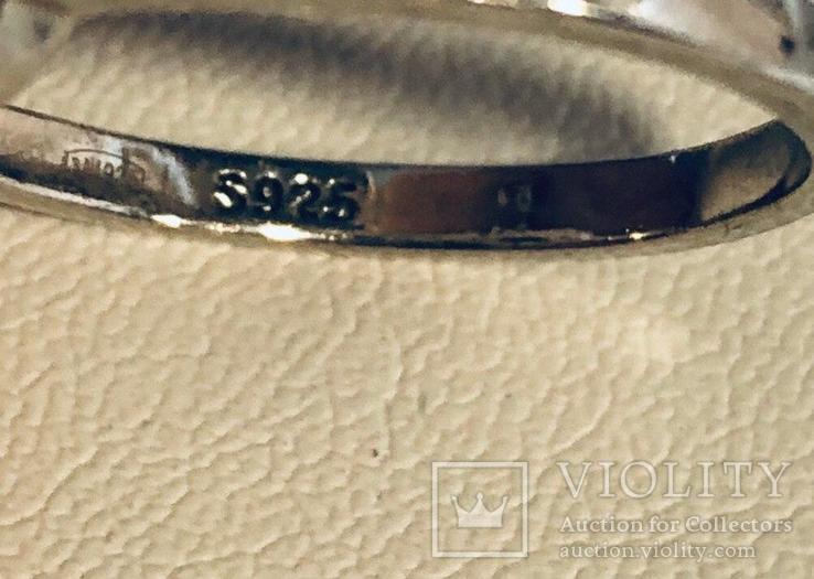 Кольцо с голубым камнем 925`, фото №5