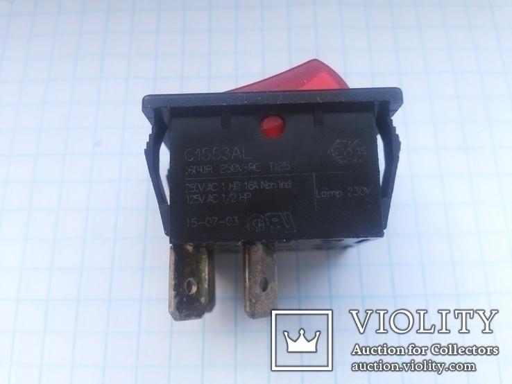 Переключатель клавишный 16A 3 pin Arcolectric С1553AL инд 1 шт, фото №3