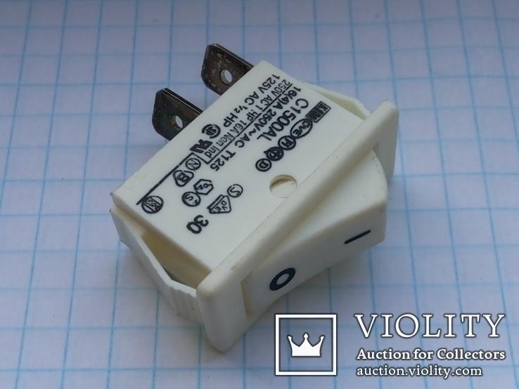 Переключатель клавишный 16A 2 pin C1500AL Arcolectric 2 шт, фото №2