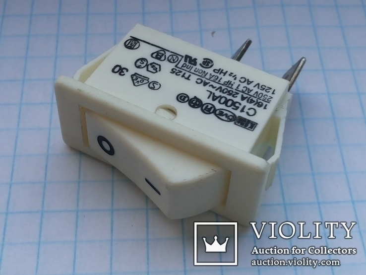Переключатель клавишный 16A 2 pin C1500AL Arcolectric 2 шт, фото №3