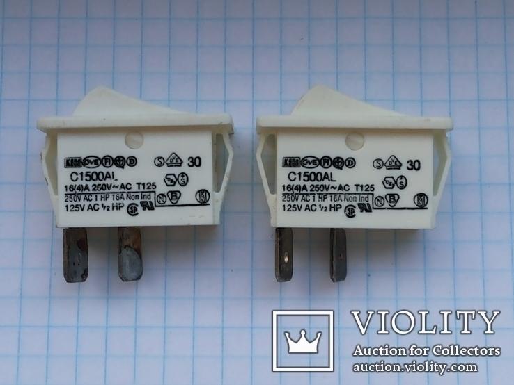 Переключатель клавишный 16A 2 pin C1500AL Arcolectric 2 шт, фото №7