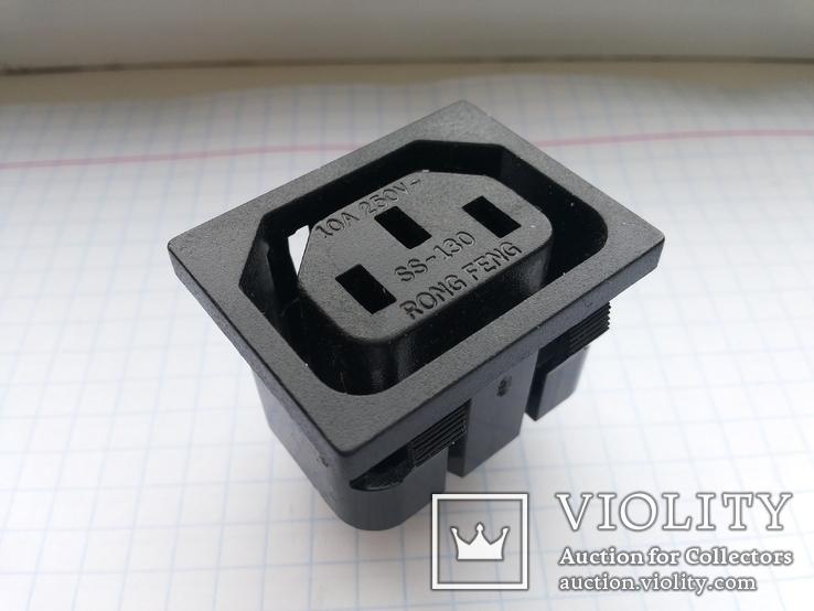 Штекер сетевой 15A 250V 3 pin розетка монтажный 75 шт, фото №2