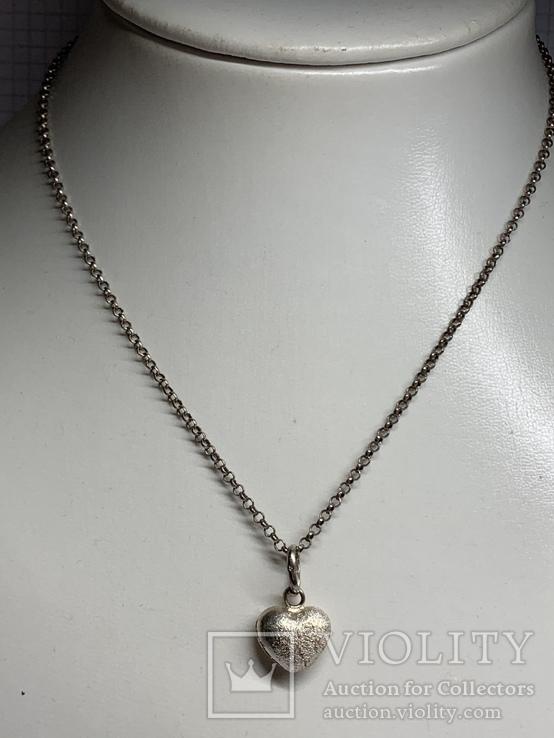 925 серебряная цепочка с кулоном в виде сердечка, фото №2