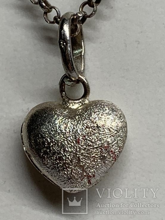 925 серебряная цепочка с кулоном в виде сердечка, фото №3