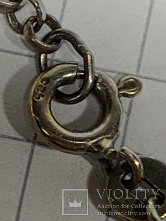 925 серебряная цепочка с кулоном в виде сердечка, фото №8