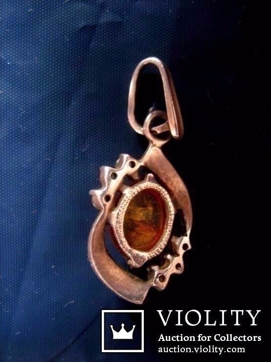Кулон срібний , позолота, бурштин (янтар), фото №6