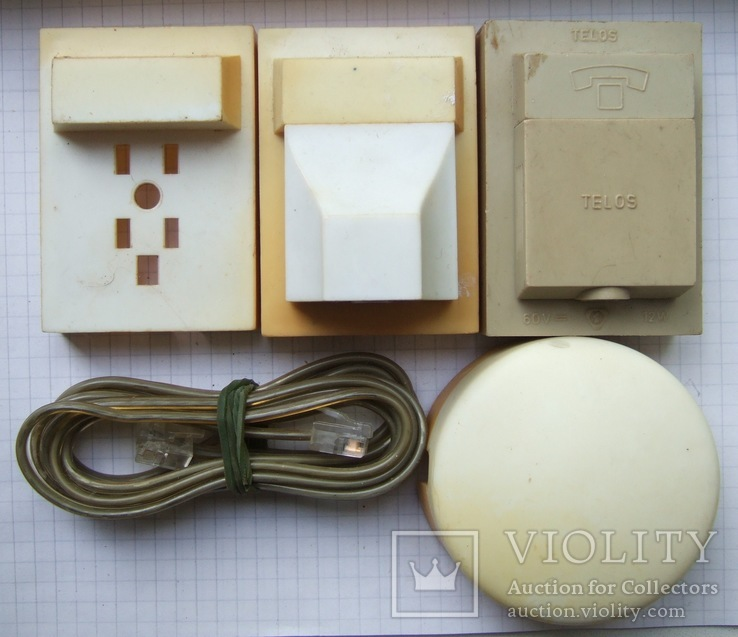 Телефонный блокиратор СССР и пара телефонных  розеток старого образца, фото №2