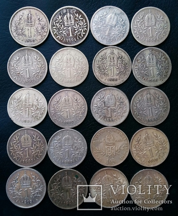 Комплект 1 крони по роках. Австрійський і угорський типи. 30 монет без повторів, фото №5