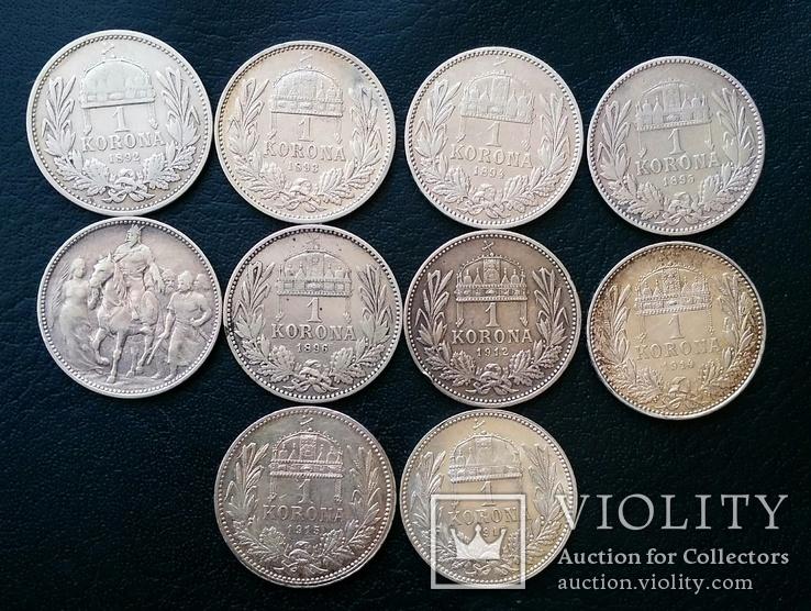 Комплект 1 крони по роках. Австрійський і угорський типи. 30 монет без повторів, фото №8