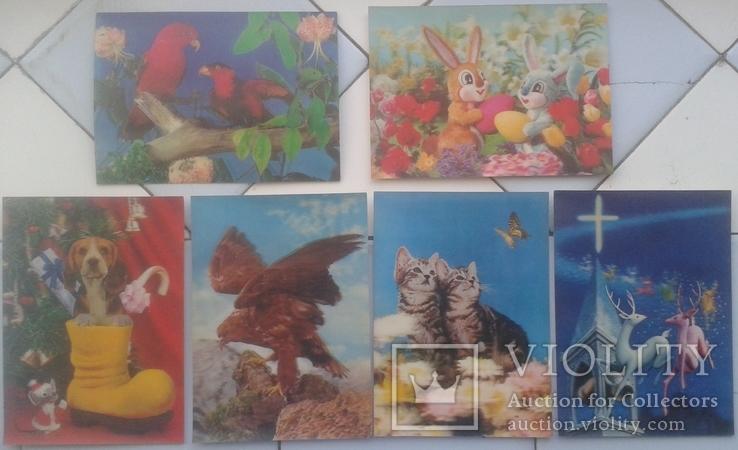 Зверушки, Рождество, Поздравительные-объёмная / стерео открытка, 5 шт.,чистые,Imco,Toppan, фото №2