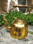 Чайник коллекционный граненый Европа латунь, фото №3