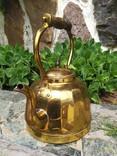 Чайник коллекционный граненый Европа латунь, фото №7
