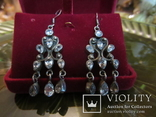 Серьги ''Malgorzata'' с цирконами, серебро 925 проба, Европа, фото №6
