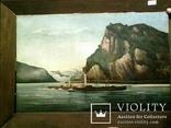 Старинная картина ''Пароход Виктория'', F Lorenz, ХIХ в, Германия. Оригинал., фото №5