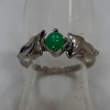 Кольцо с зеленой вставкой.Винтаж, фото №2