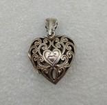 Кулон подвеска серебро 925 сердце, фото №2