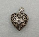 Кулон подвеска серебро 925 сердце, фото №3