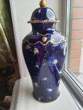 Винтажная оригинальная большая фарфоровая ваза Wollendorf Кобальт, фото №2