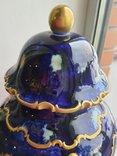 Винтажная оригинальная большая фарфоровая ваза Wollendorf Кобальт, фото №3