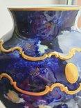 Винтажная оригинальная большая фарфоровая ваза Wollendorf Кобальт, фото №5