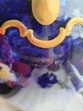 Винтажная оригинальная большая фарфоровая ваза Wollendorf Кобальт, фото №9