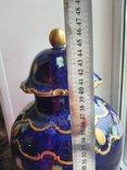 Винтажная оригинальная большая фарфоровая ваза Wollendorf Кобальт, фото №11
