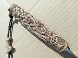 Ніж з дамаска з костяною ручкою.,,Молот Тора,,, фото №8
