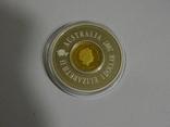 """Австралия. Серебряный """"дырявый"""" доллар со вставкой из монеты 25 центов - Лунар, фото №3"""