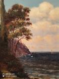 Картина в раме морской пейзаж,картон масло худКалашников, фото №4