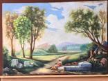 Старая, большая картина холст, масло, 100 х 69 см., фото №2