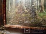 Старинная картина в деревянной раме,пейзаж, фото №4