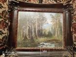Старинная картина в деревянной раме,пейзаж, фото №6