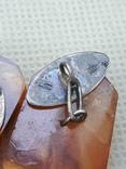 Запонки две пары серебро 875 проба янтарь., фото №8
