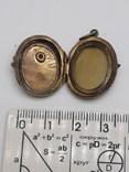 Старинный кулон-локет, подвеска, медальон для фото,штихель Серебро, 875 проба Голова, фото №6