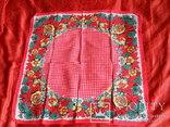 Платок красный х/б, 70х70 см., СССР, не носился, фото №2