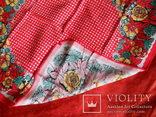 Платок красный х/б, 70х70 см., СССР, не носился, фото №3