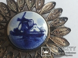 Брошь серебро клеймо 835 пр скань Голландия Дельфт, фото №6