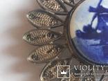 Брошь серебро клеймо 835 пр скань Голландия Дельфт, фото №7