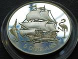 Багамские Острова 1993 Корабль парусник серебро, фото №2