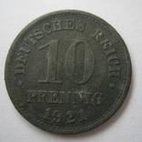 Германия 10 пфеннигов 1921 года., фото №4