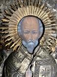 Икона Св.Николай Чудотворец с приписными, в окладе, фото №3