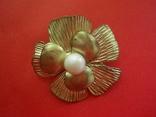 Брошь золотистая в виде цветка с жемчужиной, фото №2