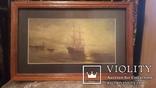 Старая картина в раме Морской пейзаж, фото №2