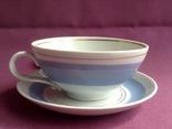 Чайная пара Голубое небо.  Фарфор. Чашка, блюдца., фото №3