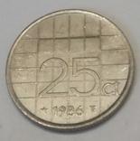 Нідерланди 25 центів, 1986