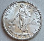 20 сентаво 1944 г. Филиппины, серебро, UNC, блеск, фото №2