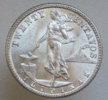 20 сентаво 1944 г. Филиппины, серебро, UNC, блеск, фото №6