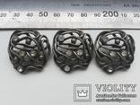 Пуговица ажурная серебрение 3 шт 60-е, фото №2