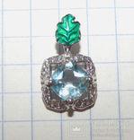 Кулон натуральный голубой топаз и эмаль, фото №5